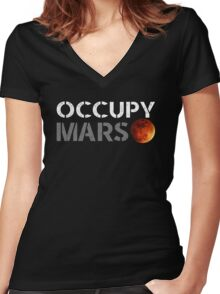 elon musk occupy mars Women's Fitted V-Neck T-Shirt