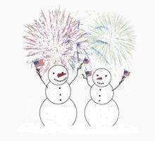Snowmen Celebrate Independence One Piece - Short Sleeve
