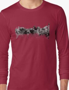 Manchester skyline in black watercolor Long Sleeve T-Shirt
