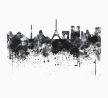 Paris skyline in black watercolor Kids Tee