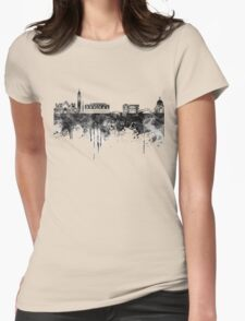 Venice skyline in black watercolor Womens Fitted T-Shirt