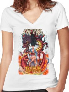 SheVibe Ride BodyWorx by Sliquid Cover Art Women's Fitted V-Neck T-Shirt