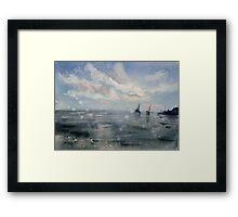 Sailing at sunset Framed Print