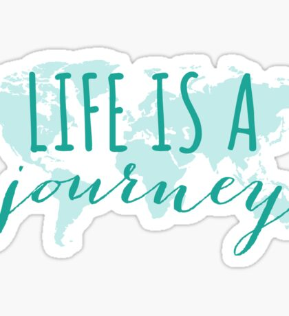 Life is a journey, teal world map Sticker
