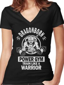 Dragonborn Power Gym Women's Fitted V-Neck T-Shirt