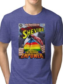 SheVibe Super Human Gay Pride Cover Art Tri-blend T-Shirt
