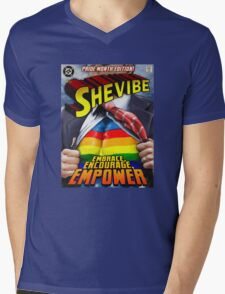 SheVibe Super Human Gay Pride Cover Art Mens V-Neck T-Shirt