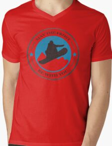 May the Frost Be With You - Snowboarder Mens V-Neck T-Shirt