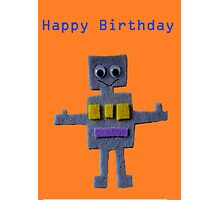 Robot on Orange Happy Birthday Photographic Print
