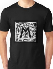 Initial M Black and White Unisex T-Shirt