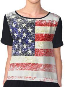 Distressed American Flag Vintage Look Chiffon Top