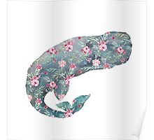 Floral whale Poster