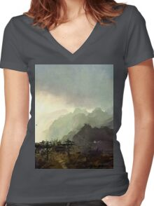 Misty Mountain Women's Fitted V-Neck T-Shirt