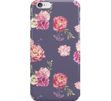 Watercolor peony flowers seamless pattern iPhone Case/Skin