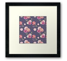 Watercolor peony flowers seamless pattern Framed Print