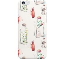 Watercolor pattern with glass bottles and plants iPhone Case/Skin