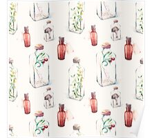 Watercolor pattern with glass bottles and plants Poster