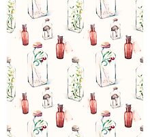 Watercolor pattern with glass bottles and plants Photographic Print