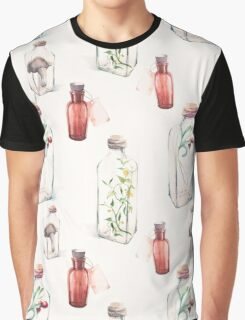 Watercolor pattern with glass bottles and plants Graphic T-Shirt