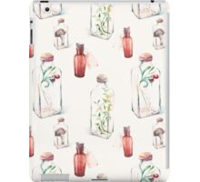 Watercolor pattern with glass bottles and plants iPad Case/Skin