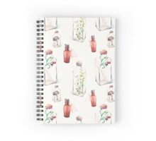 Watercolor pattern with glass bottles and plants Spiral Notebook