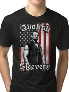 Abolish Sleevery (Vintage US Flag) Tri-blend T-Shirt