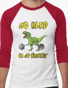 Go Hard or Go Extinct (Deadlift T-Rex) Green Yellow Men's Baseball ¾ T-Shirt