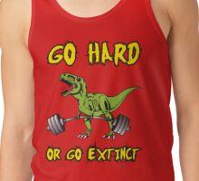Go Hard or Go Extinct (Deadlift T-Rex) Green Yellow Tank Top