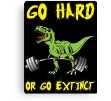 Go Hard or Go Extinct (Deadlift T-Rex) Green Yellow Canvas Print