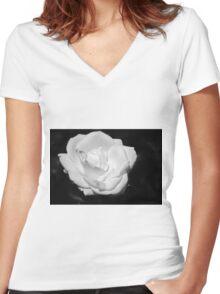 Heart Petal White Rose Women's Fitted V-Neck T-Shirt