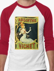 Absinthe Vichet, modern art nouveau Men's Baseball ¾ T-Shirt