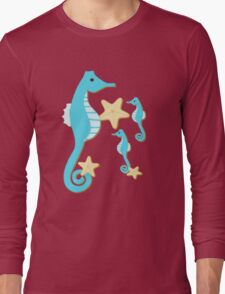 Blue Seahorses Graphic Art Long Sleeve T-Shirt