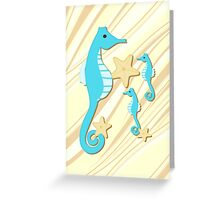 Blue Seahorses Graphic Art Greeting Card