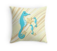 Blue Seahorses Graphic Art Throw Pillow