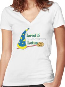 Level 5 Laser Lotus Women's Fitted V-Neck T-Shirt