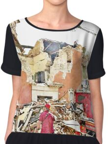 L'Aquila: collapsed building with firefighters and rubble Chiffon Top