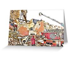 L'Aquila: collapsed building with firefighters and rubble Greeting Card