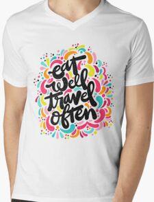 Eat & Travel Mens V-Neck T-Shirt