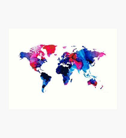 Map of The World 9 -Colorful Abstract Art Art Print