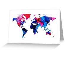 Map of The World 9 -Colorful Abstract Art Greeting Card
