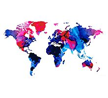 Map of The World 9 -Colorful Abstract Art Photographic Print