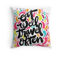 Eat & Travel Throw Pillow