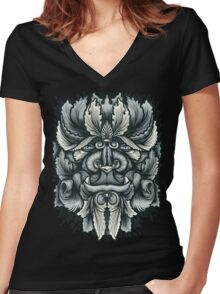Filigree Leaves Forest Creature Beast Variant Women's Fitted V-Neck T-Shirt