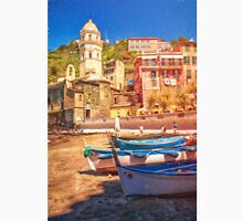 Vernazza Boats And Church Cinque Terre Italy Painterly Unisex T-Shirt