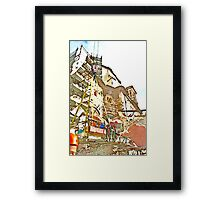 L'Aquila: collapsed building with firefighters and rubble Framed Print