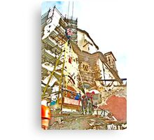 L'Aquila: collapsed building with firefighters and rubble Canvas Print