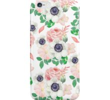 Coral pink white watercolor botanical roses floral iPhone Case/Skin
