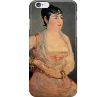 Edouard Manet - Lady in Pink 1879 - 1881 , French Impressionism , Woman , Fashion ,  Portrait iPhone Case/Skin