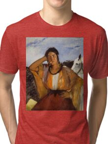 Edouard Manet - Gypsy with a Cigarette , French Impressionism , Woman , Fashion ,  Portrait Tri-blend T-Shirt