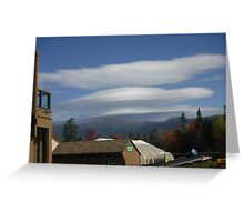 Lenticular clouds over mount Washington.  Greeting Card